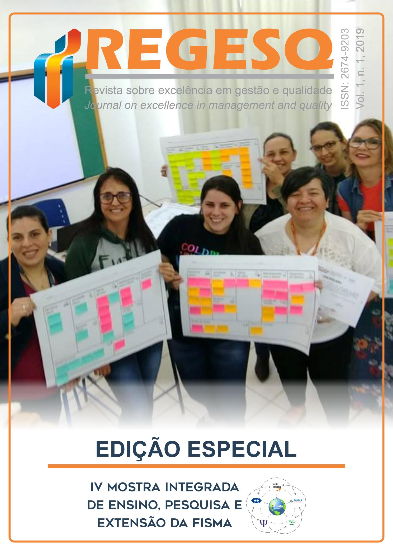 Capa da Edição Especial de lançamento da Revista sobre Excelência em Gestão e Qualidade, com uma turma de alunos participando da IV Mostra Integrada de Ensino, Pesquisa e Extensão da FISMA, realizada em 2018.